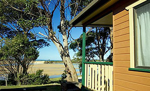Durras Lake and Durras Beach Waterfront View from Cabin Accommodation Joalah Holiday Park