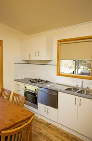 Kitchen in the Waterfront Executive Cabin Accommodation Joalah Holiday Park