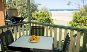 Panoramic views from the balconies of Waterfront Executive Cabin Accommodation Joalah Holiday Park